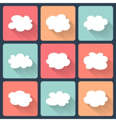 Cloud flat icon set vector image