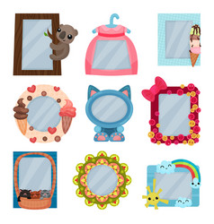 collection of cute photo frames album templates vector image