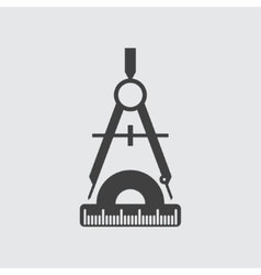 Compass and protractor icon vector image