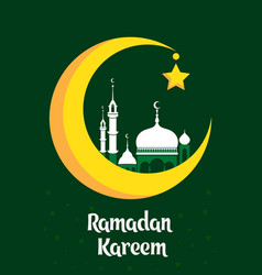 Crescent moon with white mosque for muslim vector