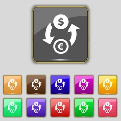 Currency exchange icon sign Set with eleven vector image
