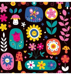 Cute flowers pattern 2 vector