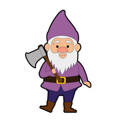 Cute gnome with woodcutter ax character vector