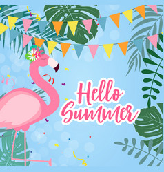 Cute pink flamingo hello summer background vector