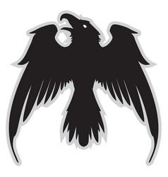 dark evil heraldic raven with spread wings vector image