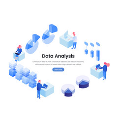 data business analysis isometric landing page vector image