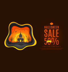 design of web banner for halloween sale vector image