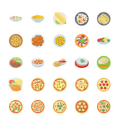 Dishes flat icons vector