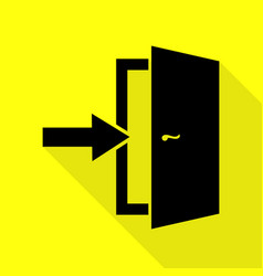 door exit sign black icon with flat style shadow vector image