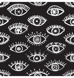 Ethnic eyes seamless pattern black background vector