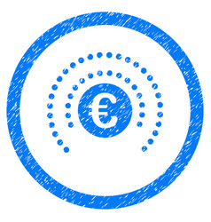 euro financial sphere shield rounded icon rubber vector image