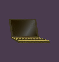 Flat shading style icon laptop notebook vector
