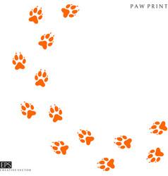 fox paw prints silhouette vector image