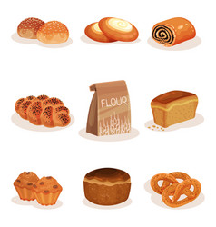 fresh baked bread and bakery pastry products set vector image