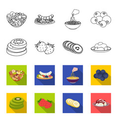 Fruits and other food food set collection icons vector
