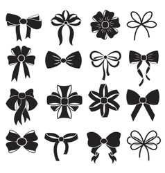 Gift decorative ribbon bow icons set vector