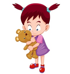 Girl Hugging teddy bear vector image