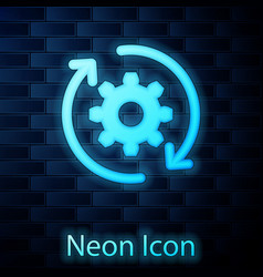 Glowing neon gear and arrows as workflow concept vector