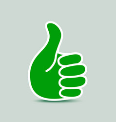 Green paper thumb up icon vector