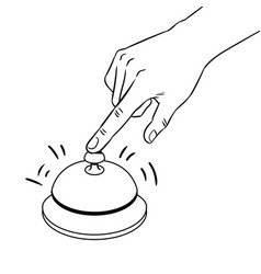 hand ring bell coloring book vector image