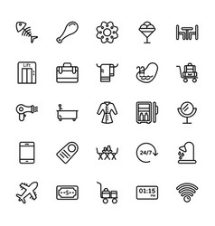 Hotel line icons 4 vector