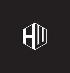 hw logo monogram hexagon with black background vector image