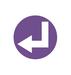 Icon turn left arrow in color circle vector