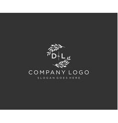 Initial dl letters floral frames monogram wedding vector