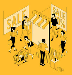 isometric concept for black friday vector image