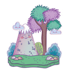 Landscape with mountain kawaii and tree vector