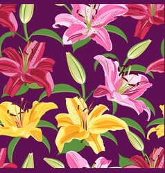 Lily flower seamless pattern on purple background vector