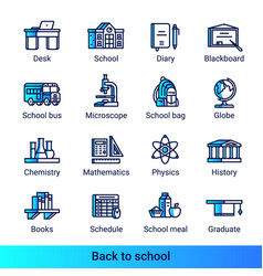 line color gradient side school icons vector image