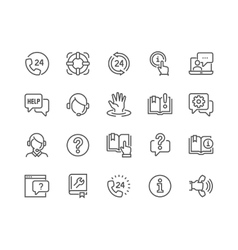 Line Help and Support Icons vector
