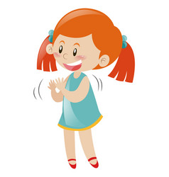 Little girl in blue dress clapping hands vector