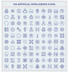 made by made artificial intelligence icons vector image