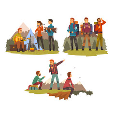 men travelling together camping people tourists vector image
