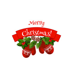 merry christmas mittens on wreath icon vector image