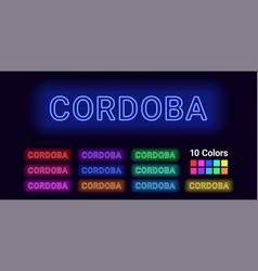 Neon name of cordoba city vector
