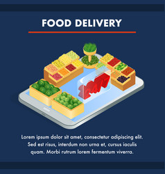 online grocery store isometric banner template vector image