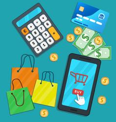 Online shopping e-commerce mobile app flat vector