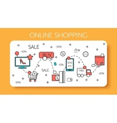 Online shopping outline concept purchasing vector
