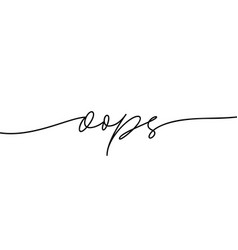 Oops thin line logo outline style calligraphy vector