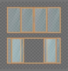 Opened and closed balcony sliding door vector