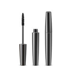 opened closed black mascara on white background vector image
