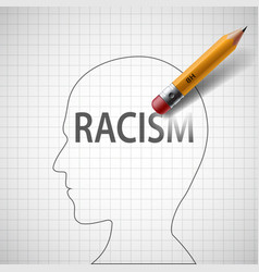 Pencil erases in the human head the word racism vector