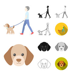 pet dog cartoonblackflatmonochromeoutline vector image