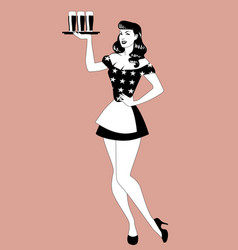 pinup girl carrying a tray with beer glasses vector image