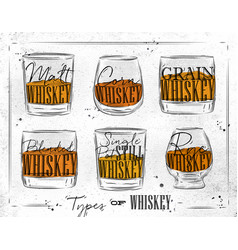 Poster types whiskey paper vector