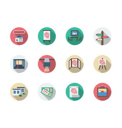 Product showrooms round color icons set vector
