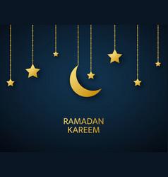 ramadan kareem arabic banner golden crescent vector image